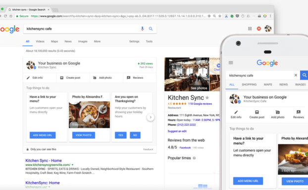 une capture d'écran de google my business